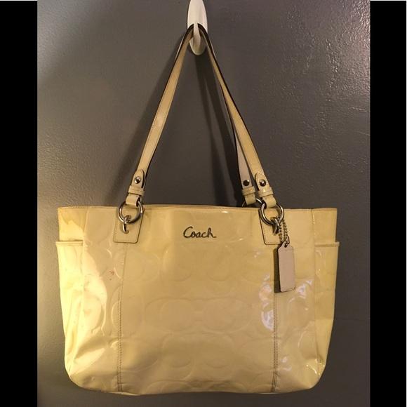 Coach Handbags - Coach Patent Monogram Leather Tote Bag